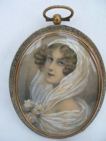 Antique Portrait Miniature Painting Signed late 19th Century of a Lady.